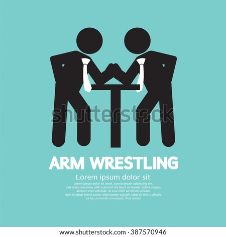 Businessman Arm Wrestling Symbol Vector Illustration