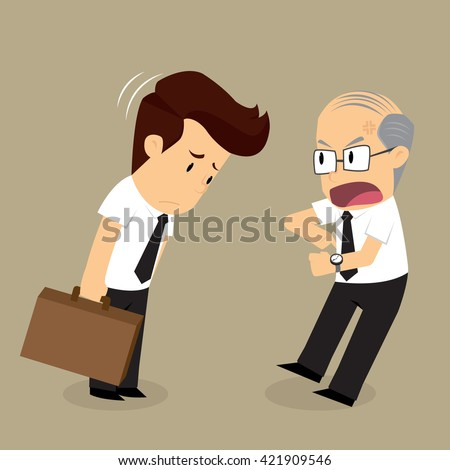 businessman arrive late ,boss complain. vector