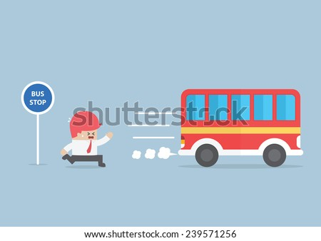 Businessman arriving too late at bus stop, VECTOR, EPS10 - stock vector