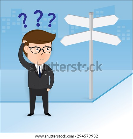 Businessman at crossroads blank sign. Business concept, Illustration Vector eps10 - stock vector