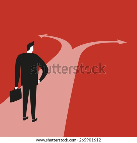 Businessman At Crossroads Path - stock vector