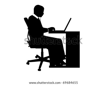 Businessman at desk - stock vector