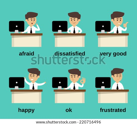 Businessman at office desk cartoon character emotions set isolated vector illustration - stock vector