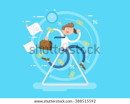 Businessman at the wheel. Business wheel, person run, hamster race metaphor, vector illustration - stock vector