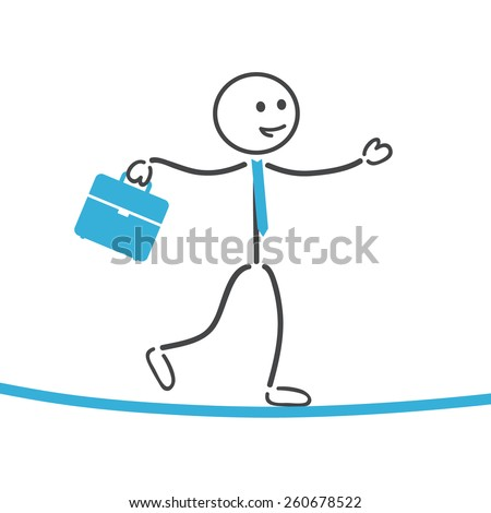 Businessman balance on rope   - stock vector