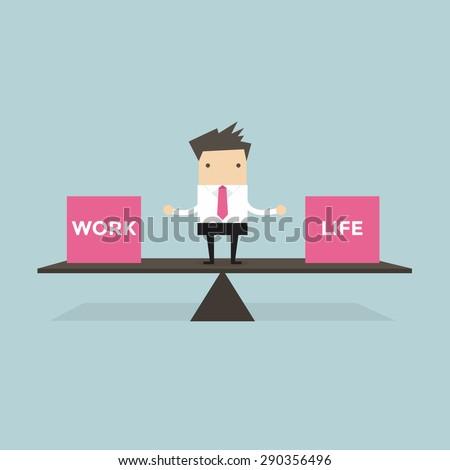 Businessman balance Work and life - stock vector