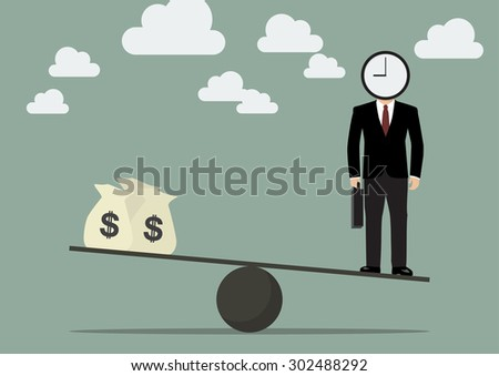 Businessman balancing with time and money. Business Concept - stock vector