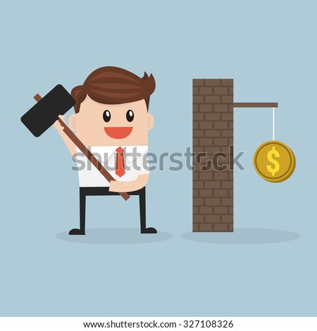 Businessman breaking wall with hammer. vector. flat design - stock vector
