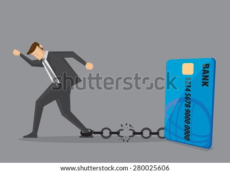 Businessman breaks free from the chain to bank credit card. Creative vector illustration for debt and financial freedom. - stock vector