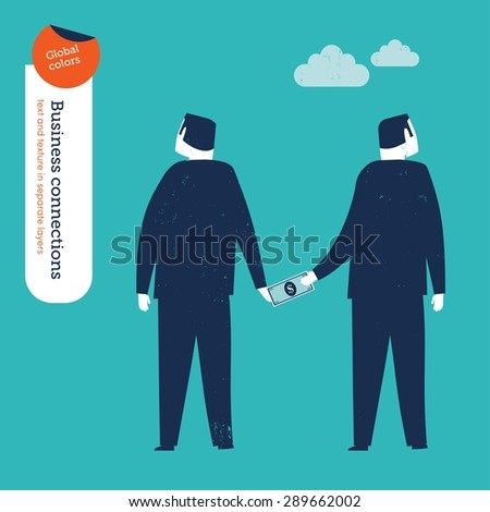 Businessman bribing another businessman. Vector illustration Eps10 file. Global colors. Text and Texture in separate layers. - stock vector