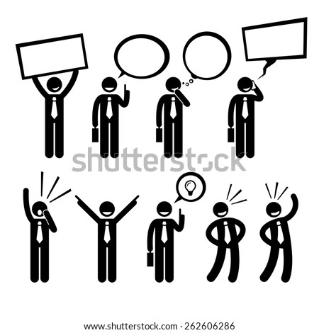 Businessman Business Man Talking Thinking Shouting Holding Placard Stick Figure Pictogram Icon - stock vector