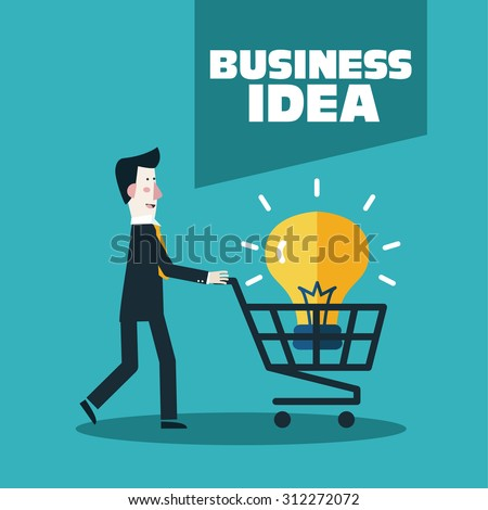 Businessman buy idea. Vector illustration presenting a young man with shopping cart containing light bulb idea. Business development and strategy concept. New business project start up concept - stock vector