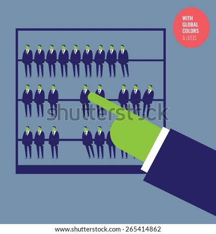 Businessman calculating with a abacus made with businessmen. Vector illustration Eps10 file. Global colors&layers. - stock vector