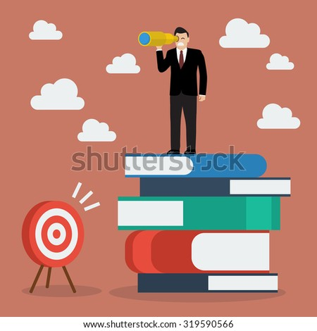 Businessman can not find the target. Business concept - stock vector