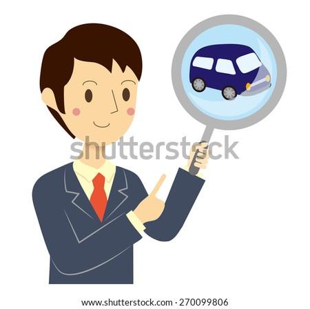 Businessman car assessment - stock vector