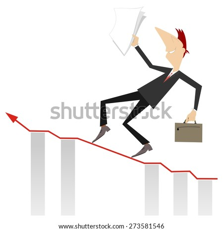 Businessman carefully walks up to the career top - stock vector