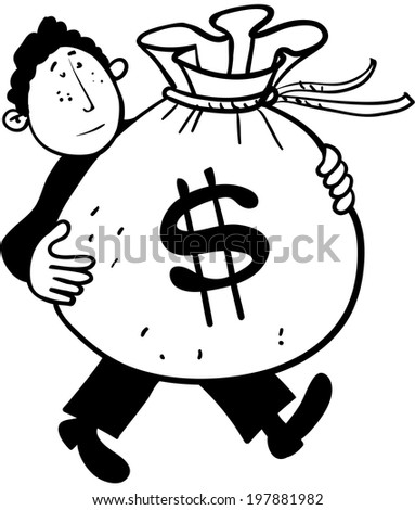 Businessman carrying a bag of money - stock vector