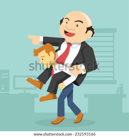 Businessman carrying boss. Vector flat illustration - stock vector