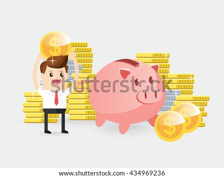 businessman carrying gold coin with piggy bank. employee showing earning or bonus or saving. future financial planning - stock vector