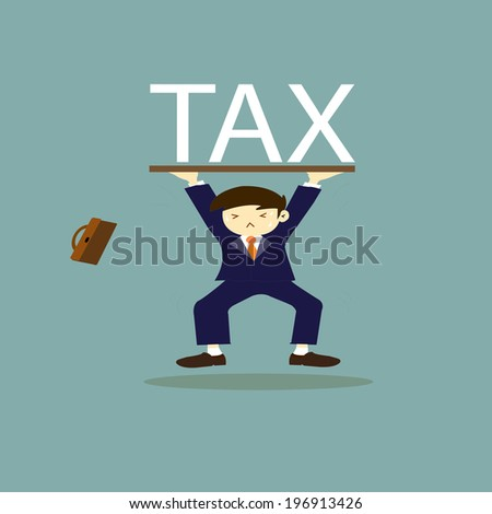 Businessman carrying heavy tax  - stock vector