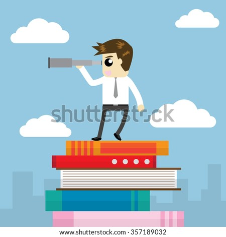 businessman carrying telescope on pile of books. - stock vector