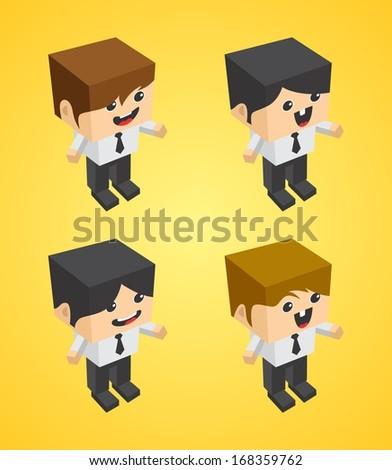 Businessman Cartoon Character Illustration Set - stock vector