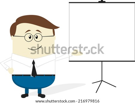 businessman cartoon with blank flip chart isolated on white background - stock vector