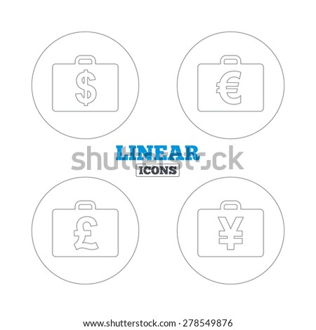 Businessman case icons. Cash money diplomat signs. Dollar, euro and pound symbols. Linear outline web icons. Vector - stock vector