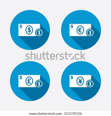 Businessman case icons. Dollar, yen, euro and pound currency sign symbols. Circle concept web buttons. Vector - stock vector