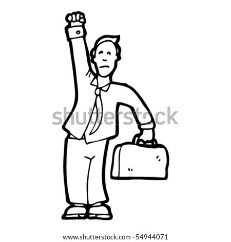 businessman celebrating cartoon - stock vector
