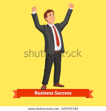 Businessman celebrating success or victory. Flat style vector illustration. - stock vector