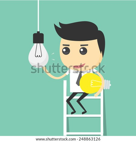 Businessman change light bulb. changed the idea - stock vector