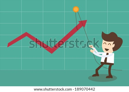 Businessman changes statistics in positively and pulling graph upwards - stock vector