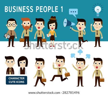 businessman character cartoon design. vector illustration. - stock vector