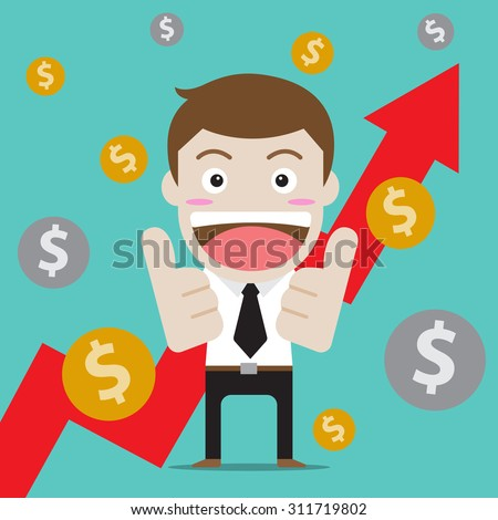 Businessman character design thumb up for arrow up and profit. (Set of business people about economy and finance) - stock vector