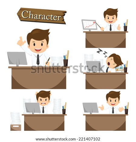 Businessman character on office set vector - stock vector