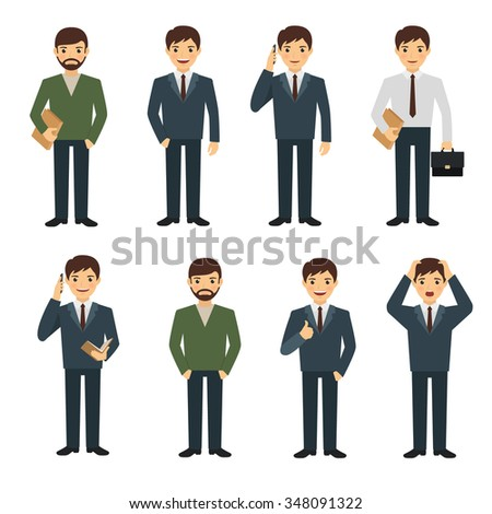 Businessman character set in various poses. Businessman holding smart phone, give thumb up sign - stock vector