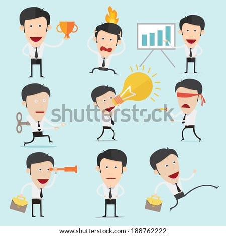 Businessman character set version3  - stock vector
