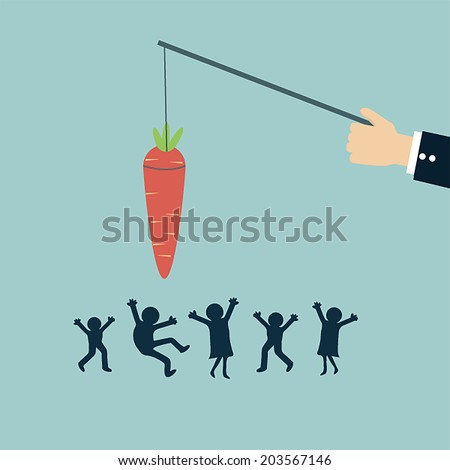 businessman chase peoples with carrot metaphor - stock vector