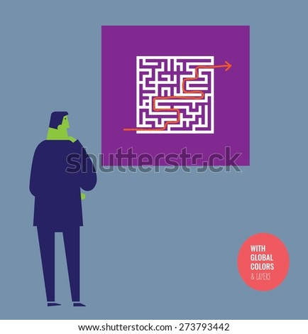 Businessman checking the solution of a labyrinth. Vector illustration Eps10 file. Global colors&layers. - stock vector