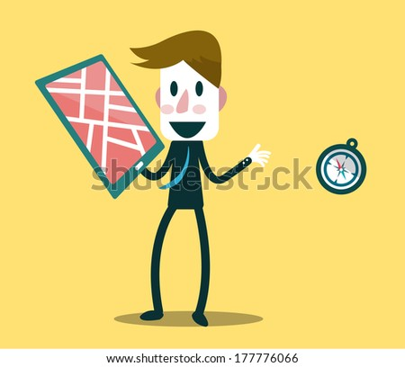 Businessman choose smart device for searching location. Business and Technology Concept. Vector - stock vector
