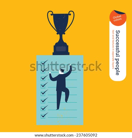 Businessman climbing in to a list. Vector illustration Eps10 file. Global colors. Text and Texture in separate layers. - stock vector