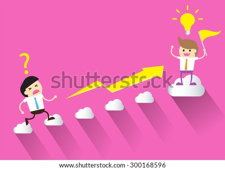 Businessman climbing ladder to Success. Vector illustration. Businessman climbing to goal. Motivation concept to be successful. winner. finish. win. flat design. graph. pink background. flag - stock vector