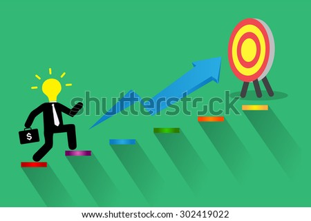 Businessman climbing ladder to Success. Vector illustration. Businessman climbing to goal. Motivation concept to be successful. winner. finish. win. flat design. graph. idea light bulb. - stock vector