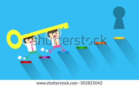 Businessman climbing ladder to Success. Vector illustration. Businessman climbing to goal. Motivation concept to be successful. winner. finish. win. flat design. graph. idea light bulb. dream. key. - stock vector