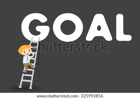 Businessman climbing ladder to Success. Vector illustration. Businessman climbing to goal. Motivation concept to be successful. winner. finish. win. flat design. black background