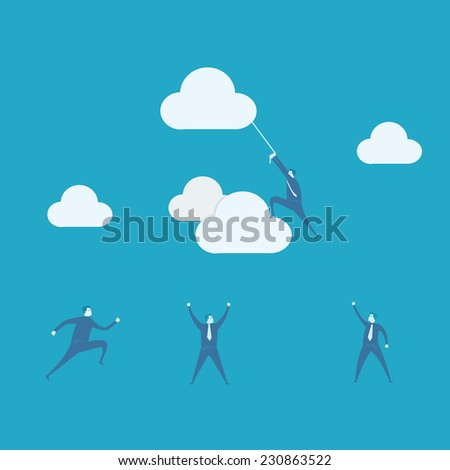 Businessman climbing rope attached to cloud  - stock vector
