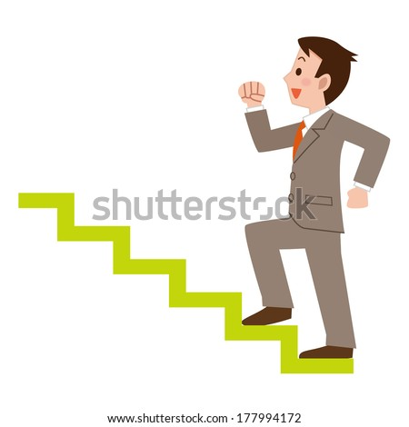 Businessman climbing the stairs - stock vector