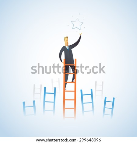 Businessman climbs the stairs to get a star. Successful leadership. Vector illustration EPS10.0 fully editable.  - stock vector