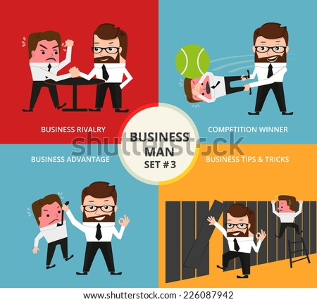 Businessman concept collection. Business rivalry, comtetition winner, business advantage, tips and tricks - stock vector
